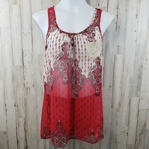 Lily White Womens Top Red Sheer Racerback Lace Pkt